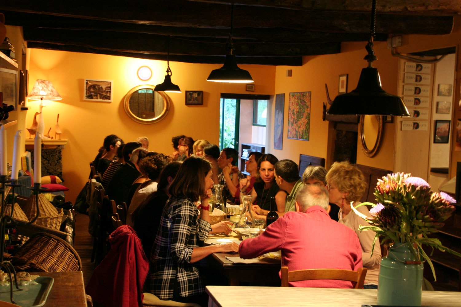 wonderful dinners in the summer yoga vacation in Italy